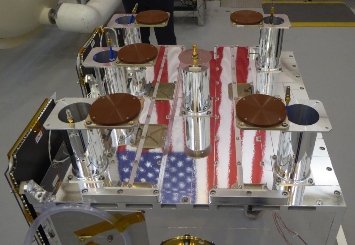 American flag reflected off the OTB-1 satellite