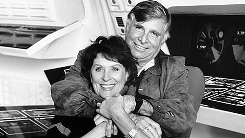 Gene and Majel Roddenberry on a Star Trek set