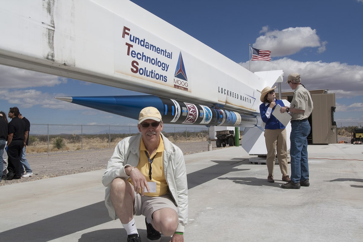 A Celestis family member on the launch pad tour at Spaceport America
