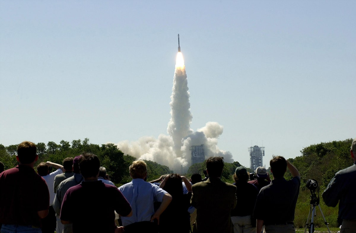 Crowd viewing a launch