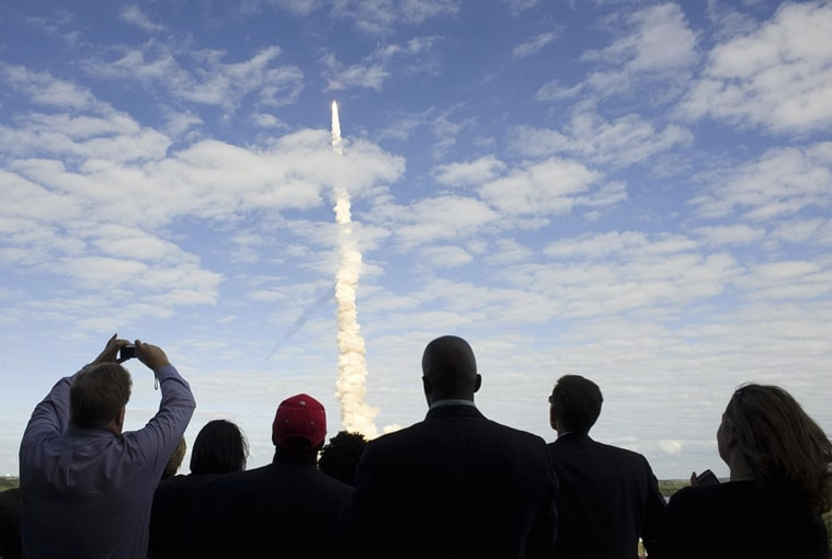 Specators watching a launch at NASA Kennedy Space Center, Florida