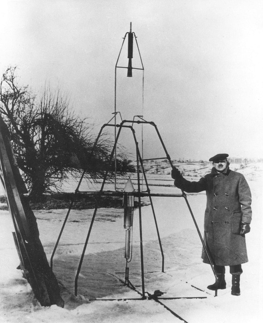 Goddard next to his liquid-fueled rocket, 1926