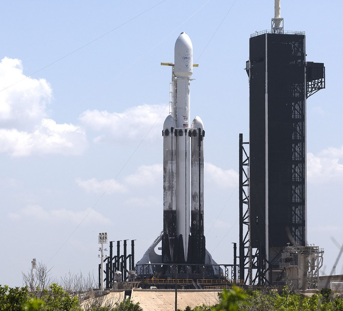 Falcon Heavy on the launch pad, NASA KSC