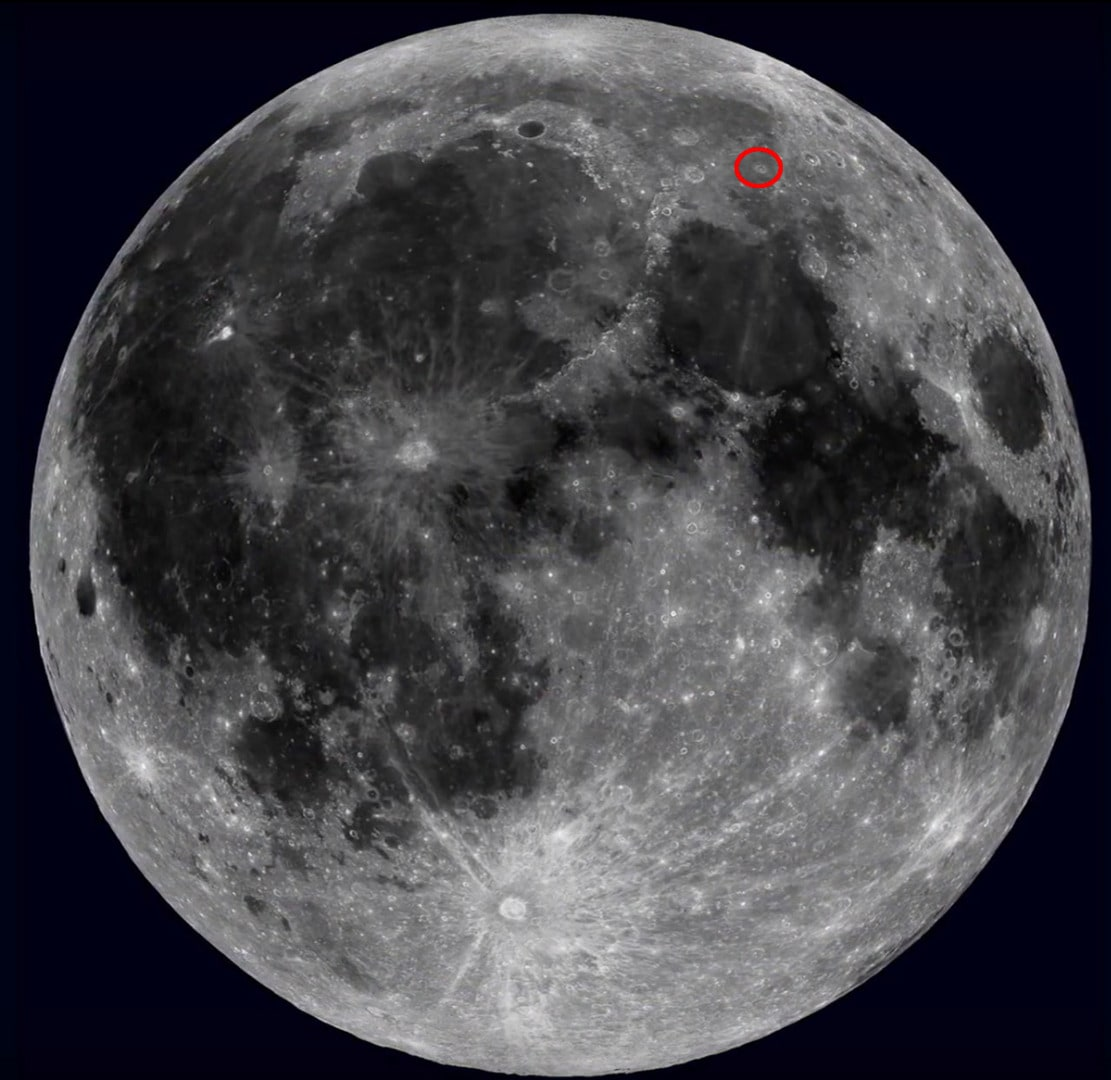 Location of Lacus Mortis on the Moon