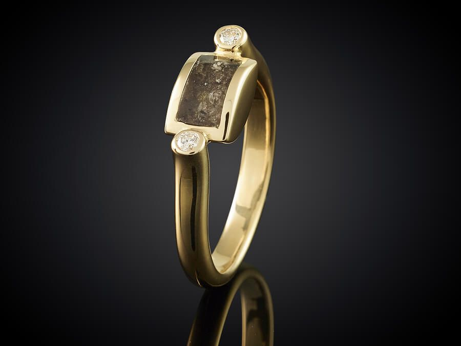 Golden ring with ashes keepsake